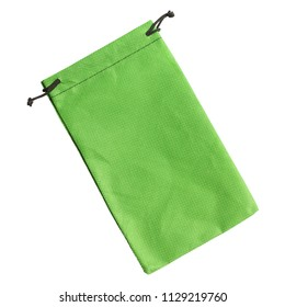 Green purse string small bag isolated on white background
