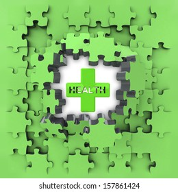 green puzzle jigsaw with health cross revelation illustration