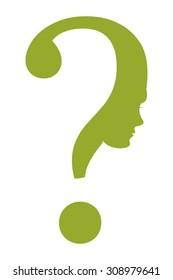 Green Question Mark Head Infographics Flat Icon, Sign Isolated on White Background