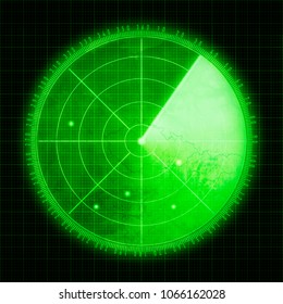 Green radar screen with targets
