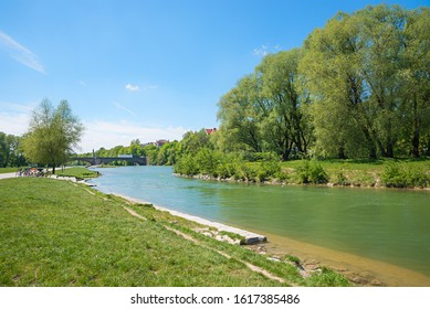 green recreational area at isar river, munich city, upper bavaria