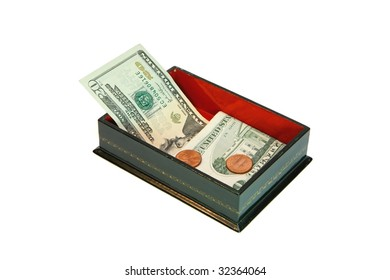 Green rectangular casket with USA money isolated
