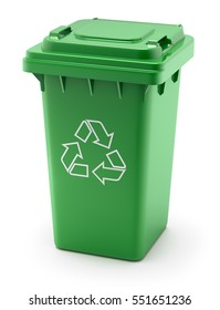 Green recycle bin on white background - 3D illustration