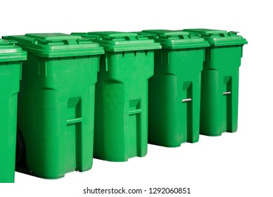green recycle bin white background container environmental waste