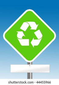green recycle direction sign in light blue background