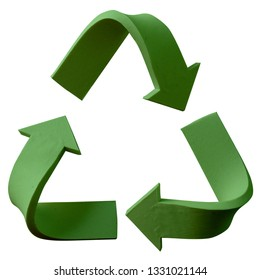 Green recycle symbol handmade with plasticine. Isolated on white background – Image