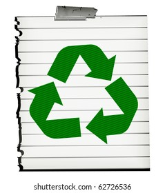Green Recycle Symbol On Old Piece Of Paper Isolated On White