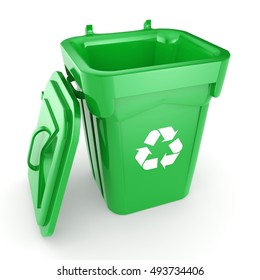 Green recycling Bin, 3D illustration