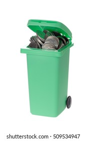 Green recycling bin with coins isolated on white background.