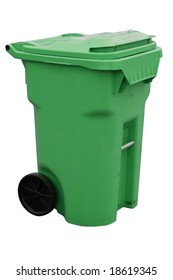 green recycling container with clipping path