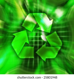 Green recycling symbol conceptual illustration