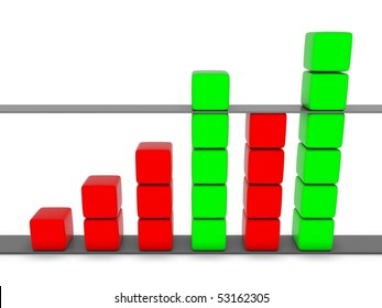 green and red 3D statistic chart graph isolated on white