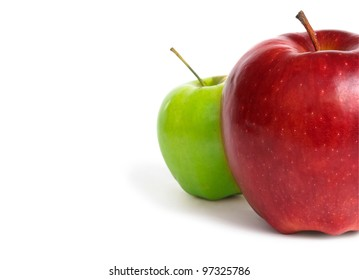 Green and red apple isolated on white background