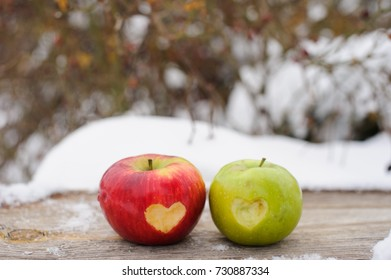 green and red apples with hearts in it on the snow