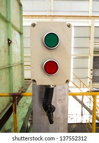 Green and red button on panel