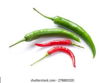 Green and red chili peppers. Isolated on white background
