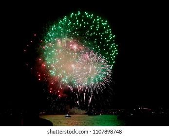 green red fireworks Sydney harbor