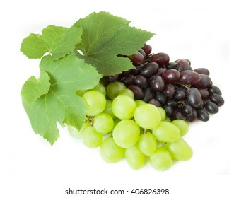 Green and red grapes branch isolated on white background