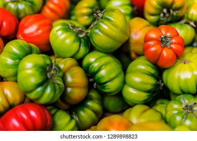 Green and red italian tomatoes - closeup view.