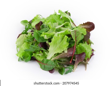 Green and red leaf of lettuce close up. Isolated on a white background.