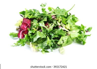 Green, red leaf of lettuce and rocket salad. Isolated on a white