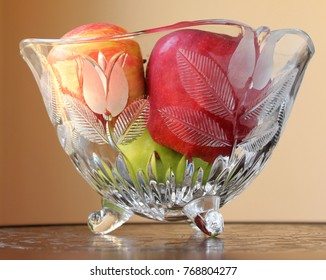 Green, Red, Orange Apples in an Etched Glass Bowl