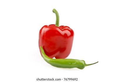 Green and  red  paprika isolated on white background