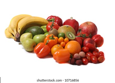 green red and yellow fruits and vegetables - isolated on white