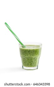 green refreshing smoothie with spinach in glass with straw isolated on white