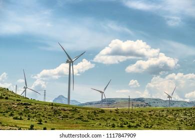 Green renewable energy concept, wind turbines