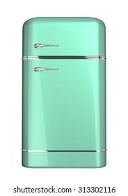 Green retro fridge, isolated on white, 3d illustration