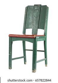 Green retro old and worn wood chair; isolated on white background