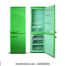 Green retro refrigerator, open doors, green inside, isolated on white.