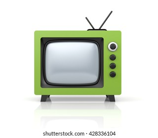 Green retro TV. 3d illustration
