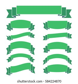 Green ribbon banners set. Beautiful blank for decoration graphic Old vintage style Flat design. Premium decorative elements isolated on white background. Template collection labels illustration