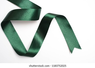 green ribbon border isolated on white background