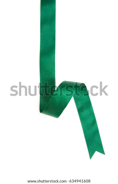 green ribbon border isolated on white background