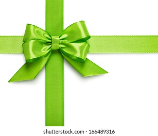 Green ribbon bow isolated on white background clipping path included