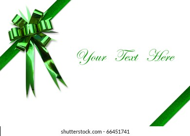 Green ribbon bow on white space for message