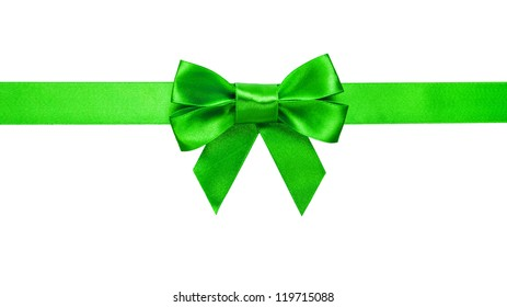green ribbon with bow with tails isolated on white background