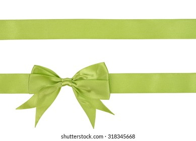 Green ribbon isolated on a white background
