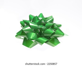 Green ribbon over white background
