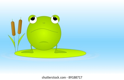 The green ridiculous frog sits on green sheet. EPS version is available as ID 87436598.