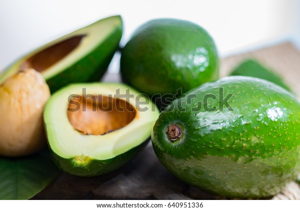 Green ripe avocado from organic avocado plantation