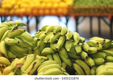 green and ripe banana on the market