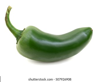 A green ripe jalapeno on white