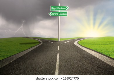 Green road sign of right vs wrong decision on highway with thunder storm background