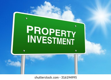 Green road sign with text Property investment is in front of the blue sunny background.