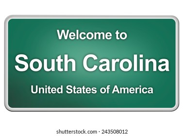green road sign: welcome to South Carolina