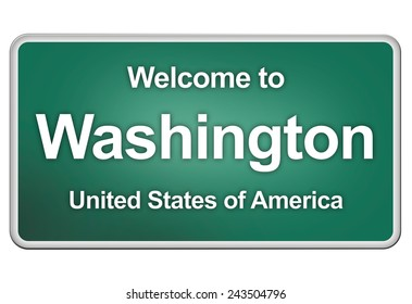 green road sign: welcome to Washington